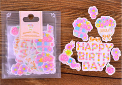 Floral Birthday Stickers | Semi Transparent Flower Paper Stickers | Pastel Planner Stickers | Birthday Card DIY  (Wreath, Rose, Flower Banner, Happy Birthday / 8 Designs / 34 Pieces)