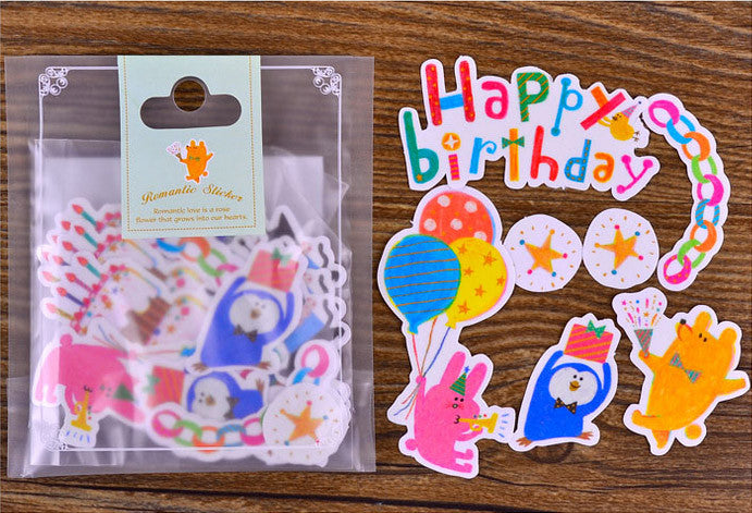 Animal Birthday Party Stickers Translucent Paper Stickers Cute