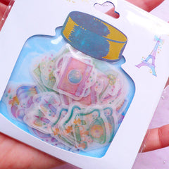 French Style Translucent Stickers | Semi Transparent PVC Stickers | Pastel Planner Deco Sticker | Home Decoration (Eiffel Tower Macaron Vintage Telephone Perfume Bottle Bicycle Lemon Tea Antique Camera / 8 Designs / 48 Pieces)