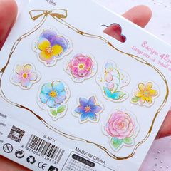Pastel Flower PVC Stickers | Floral Planner Stickers | Translucent Stickers Supplies | Fairy Kei Resin Art | Scrapbooking | Wedding Decoration (8 Designs / 48 Pieces)