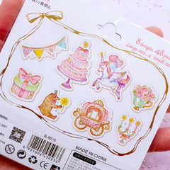 Kawaii Fairy Kei Stickers | Pastel Kei PVC Stickers | Fairytale Sticker | Semi Transparent Planner Stickers | Scrapbook Supplies (Unicorn Carriage Party Banner Present Box Bear Flower Candle Cake / 8 Designs / 48 Pieces)