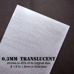 Shrinkable Plastic Sheet | Shrinking Plastic Film | Shrink Plastic | Brooch & Pendant Making | Kawaii Papercraft Supplies | Transform from 0.3mm to 2mm in Thickness (2 Sheets / Translucent / 20cm x 29cm)