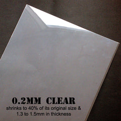 Shrink Plastic Film | Transparent Shrinkable Plastic Sheet | Shrinking Plastic | Kawaii Charm & Pin Making | Paper Craft Supplies | Transform from 0.2mm to 1.5mm in Thickness (2 Sheets / Clear / 21cm x 29cm)