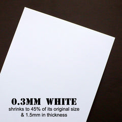 White Shrink Film | Shrinking Plastic | Shrinkable Plastic Sheet | Pin & Jewellery Making | Fun Papercraft | Transform from 0.3mm to 1.5mm in Thickness (2 Sheets / White / 20cm x 29cm)