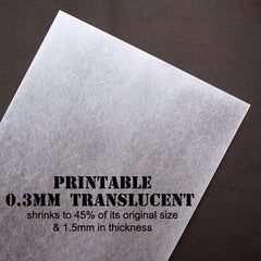 Shrink Jet Plastic Film | Printable Shrinking Plastic | Shrinkable InkJet Sheet | Embellishments & Earrings Making | Creative Papercraft | Transform from 0.3mm to 1.5mm in Thickness (2 Sheets / Translucent / 20cm x 30cm)