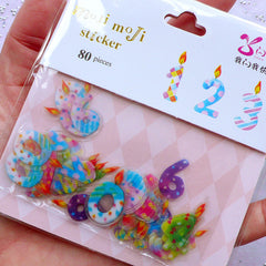 Number Candle Stickers | Birthday Card Making | Party Decoration | Scrapbooking Supplies | Diary Deco Stickers | Semi Transparent PVC Stickers (10 Designs / 80 Pieces)