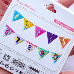 Cute Number Stickers in Party Banner Shape | Colorful Scrapbooking | Planner Decoration | Diary Stickers | Translucent PVC Sticker Flakes (10 Designs / 80 Pieces)