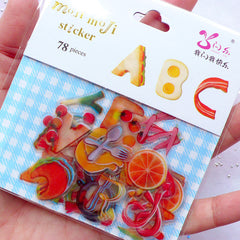 Whimsical Alphabet Stickers in Food Shapes | Kawaii Initial Sticker Flakes | Fruit & Breakfast Letter Stickers | Planner Decoration | Cute Scrapbooking Supplies | Translucent PVC Stickers (26 Designs / 78 Pieces)
