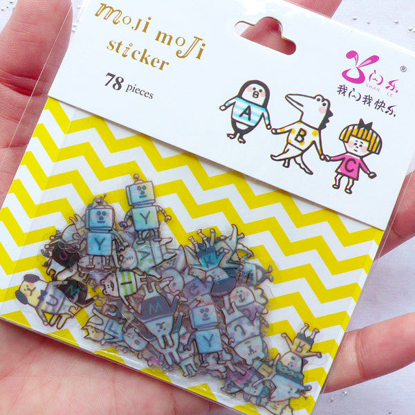 Cute Initial Stickers in the Shape of Little People | Alphabet Stickers | Hand in Hand Letter Sticker Flakes | Paper Craft | Planner Stickers | Home Decoration | Translucent PVC Stickers (26 Designs / 78 Pieces)