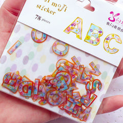 Flower Initial Sticker | Floral Letter Sticker Flakes | Alphabet Stickers | Diary Decoration | Papercraft Supplies | Semi Transparent PVC Stickers (26 Designs / 78 Pieces)
