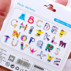 Alphabet Sticker Flakes in the theme of Japanese Culture | Vintage Toy Initial Sticker | Colorful Letter Sticker | Japan Scrapbooking | Paper Craft Supplies | Translucent PVC Stickers (26 Designs / 78 Pieces)
