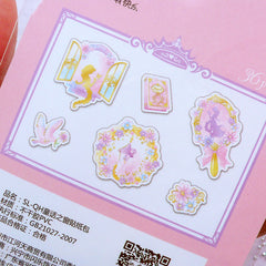 Fairy Tale Princess Sticker Flakes | Iridescent Fairy Kei Planner Stickers | Holographic Transparent PVC Sticker (Mirror Castle Flower Peace Dove Diary Book / 6 Designs / 36 Pieces)