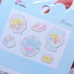 Kawaii Mermaid Sticker Flakes | Little Fairy Tale PVC Stickers | Cute Planner Stickers | Fairytale Scrapbooking (Fish Tank Seahorse Castle Sea Shell Crown / 6 Designs / 36 Pieces)