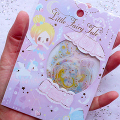Fairy Kei Princess Sticker Flakes | Kawaii Pastel Kei Scrapbook | Fairytale Planner Deco Stickers | Semi Transparent Little Fairy Tale Stickers (Snow Globe Jewelry Box Unicorn Shooting Star Owl / 6 Designs / 36 Pieces)
