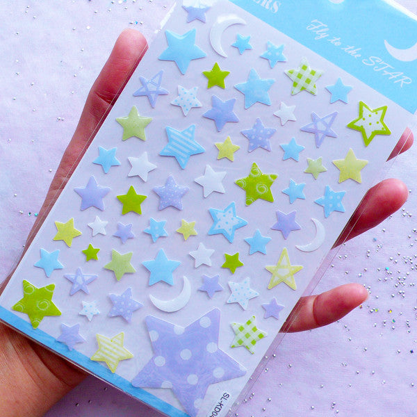 Crystal Star & Moon Stickers | Kawaii Scrapbook Supplies | Resin Coated Stickers | Card Decoration | Home Decor (1 Sheet)