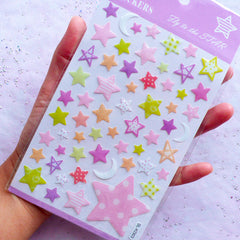 Kawaii Star & Moon Stickers with Crystal Resin Coating | Home Decoration | Scrapbooking & Papercraft Supplies (1 Sheet)
