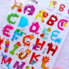 Animal Alphabet Stickers | Initial Letter Sticker with Crystal Resin Coating | Kawaii Home Decoration | Baby Shower Decor | Card Embellishments (1 Sheet)