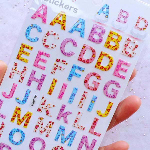 Alphabet Stickers with Leopard Pattern | Letter Initial Sticker Coated with Crystal Resin | Phone Case Decoden | Papercraft & Scrapbooking Supplies (1 Sheet)