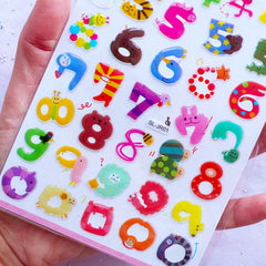 Animal Number Stickers | Kawaii Sticker Coated with Crystal Resin | Home Decor | Baby Shower Decoration | Paper Craft Supplies (1 Sheet)
