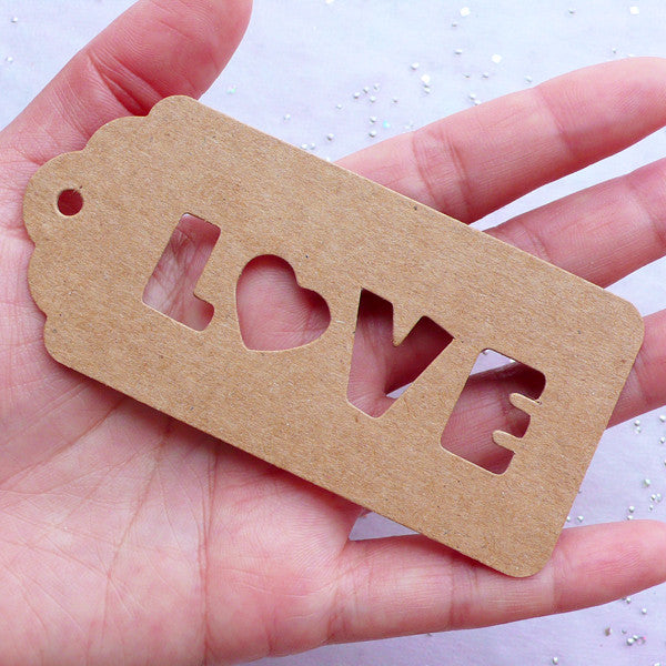 Brown Kraft Paper Love Tags   Blank Hang Tags   Rustic Packaging Tags   Wedding Favor Tag   Scalloped Cardboard Gift Tags   Product Decoration (10pcs / 45mm x 95mm) - MiniatureSweet