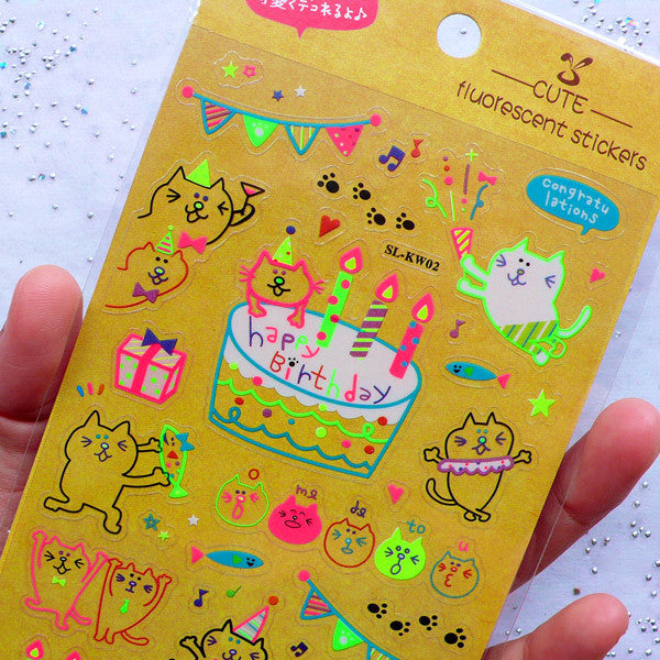 Kawaii Kitty Cat Birthday Party Stickers In Neon Colors