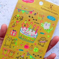 Kawaii Kitty Cat Birthday Party Stickers in Neon Colors | Cute Party Decoration | Happy Birthday Fluorescent Stickers | Clear PVC Stickers | Scrapbooking Supplies (1 Sheet)