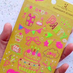Neon Colored Party Stickers | Kawaii Birthday Party Decoration | Celebration Stickers | Fluorescent Stickers | Transparent PVC Stickers | Cute Paper Craft Supplies (1 Sheet)