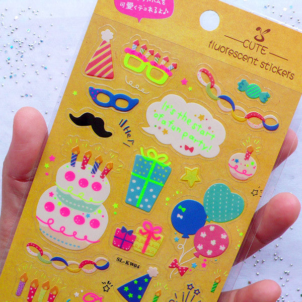 Birthday Party Stickers in Neon Color | Fluorescent Stickers | Kawaii Planner Decoration | Celebration Stickers | Clear PVC Stickers (1 Sheet)