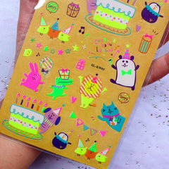Animal Party Stickers in Neon Color | Kawaii Planner Supplies | Fluorescent Stickers | Birthday Celebration Stickers | PVC Stickers | Diary Deco Stickers (1 Sheet)