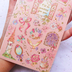Pastel Kei Princess Stickers with Gold Foil | Floral Stickers | Animal Sticker | Fairy Tale Stickers in Watercolor Style | Journal Supplies | Diary Decoration (1 Sheet)
