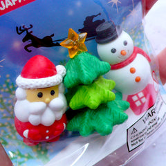 Kawaii Erasers | Christmas Tree Erasers | Snowman Eraser | Santa Claus Eraser | Puzzle Erasers |Cute Japanese Stationery Supplies (3pcs)