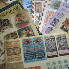 Vintage Sticker Sheet by Florastudio Stickers | Ephemera Style Stickers | Zakka Stationery | Scrapbooking Supplies (10 Sheets / Stamp Newspaper Grocery Painting Old Ticket Map)