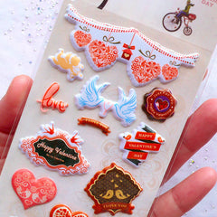 Valentine Stickers | Puffy Heart Stickers | Love Stickers | Happy Valentine's Day Decoration | Stationery & Papercraft Supplies