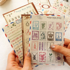 Vintage Stamp Sticker by Ladmaid | Antique Style Stickers | Korean Planner Stickers | Diary Deco Stickers | Seal Stickers | Papercraft | Scrapbook Supplies (6 Sheets / Alphabet Number Stamp Label, etc)