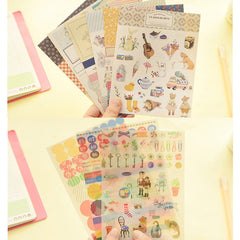 Diary Deco Pack Version 5 by Iconic | Kawaii Planner Stickers | Korean Stickers | Home Decor | Scrapbooking | Papercraft | Card Making | Packaging Decoration | Seal Stickers (9 Sheets / Animal Floral Vintage)