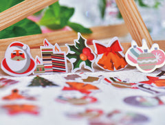 Christmas Sticker Flakes | Card Making | Party Decoration | Planner Deco Stickers | PVC Translucent Stickers (10 Designs / 50 Pieces / Santa Claus Snow Globe Reindeer Christmas Bells Christmas Tree Ornaments)