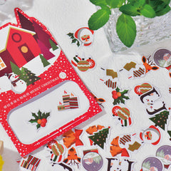 CLEARANCE Christmas Sticker Flakes | Card Making | Party Decoration | Planner Deco Stickers | PVC Translucent Stickers (10 Designs / 50 Pieces / Santa Claus Snow Globe Reindeer Christmas Bells Christmas Tree Ornaments)