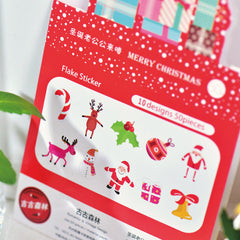 Merry Christmas Sticker Flakes | Christmas Card Decoration | Christmas Party Supplies | Diary Deco Stickers | Translucent PVC Stickers (10 Designs / 50 Pieces / Santa Claus Candy Stick Snowman Reindeer Christmas Bells)