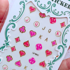 Nail Deco Stickers | Poker Stickers | Playing Card Suits Stickers | Casino Stickers | Las Vegas Nail Art | Nail Decoration (Spade Heart Diamond Club)