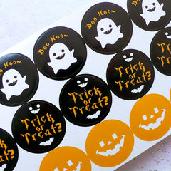 Halloween Stickers | Pumpkin Seal Stickers | Trick or Treat Stickers | Kawaii Ghost Stickers | Favor Decoration | Gift Packaging | Party Supplies (2 Sheets / 36pcs)