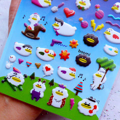 Cloud Duck Puffy Stickers | Kawaii Korean Sticker | Card Making | Home Decoration | Cute Embellishments | Stationery & Scrapbooking Supplies (1 Sheet)