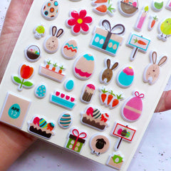 CLEARANCE Easter Puffy Stickers | Rabbit Stickers | Bunny Stickers | Easter Egg Stickers | Easter Embellishments & Scrapbooking | Kawaii Stationery Supplies | Easter Party Decoration (1 Sheet)