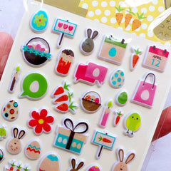 Easter Puffy Stickers | Rabbit Stickers | Bunny Stickers | Easter Egg Stickers | Easter Embellishments & Scrapbooking | Kawaii Stationery Supplies | Easter Party Decoration (1 Sheet)
