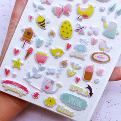 Animal & Nature Puffy Stickers | Floral Stickers | Bird Stickers | Easter Sticker | Spring Embellishments | Home Decor | Cute Scrapbook & Stationery Supplies (1 Sheet)