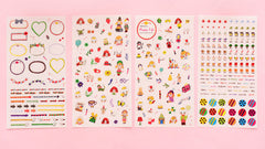 CLEARANCE Happy Life Deco Stickers | Korean Stickers in Hand Drawn Style | Erin Condren Life Planner Stickers | Kawaii Diary Decoration | Zakka Stationery Supplies (4 Sheets)