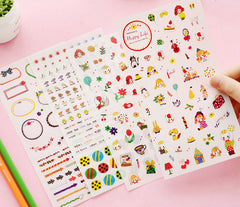 Happy Life Deco Stickers | Korean Stickers in Hand Drawn Style | Erin Condren Life Planner Stickers | Kawaii Diary Decoration | Zakka Stationery Supplies (4 Sheets)