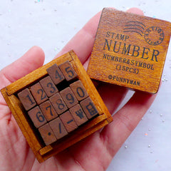 Number Stamp Set with Wooden Box in Antique Style | Symbol Stamps | Zakka Stamp Supplies | Vintage Styled Rubber Stamps | Card Making | Old School Stationery (15 Stamps)