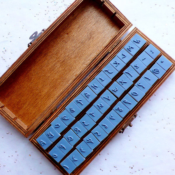 Alphabet Rubber Stamp Set With Antique Wooden Box Upper