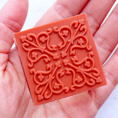 Filigree Rubber Stamp | Decorative Stamp with Lace Pattern | Crystal Square Stamp | Zakka Stamp Supplies | Card Decoration | Scrapbook | Stationery | Papercraft