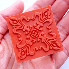 Fleur De Lis Square Stamp | Decorative Rubber Stamp | Filigree Lace Stamp | Zakka Craft Supplies | Wedding Scrapbook | Card Making | Papercraft | Stationery